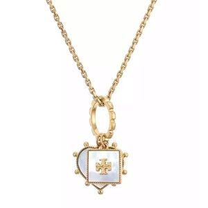 TORY BURCH • Mother of Pearl Logo Charm Necklace